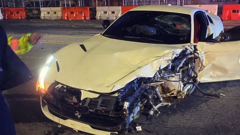 Mike Will Made It Rapper Shares Images Of Horror Ferrari Crash With Swae Lee Ents Arts News Sky News