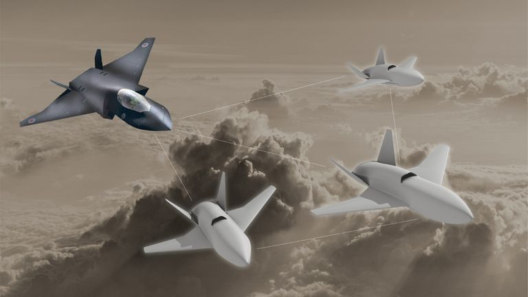 image issued by the Ministry of Defence (MoD) of the RAF's Lightweight Affordable Novel Combat Aircraft (LANCA) which is set to be further developed at Spirit AeroSystems, in Belfast