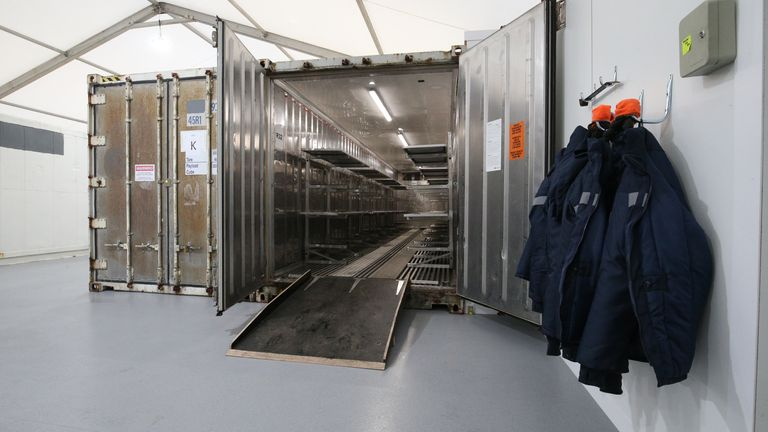 nside one of the storage units at the overflow mortuary at Breakspear Crematorium in Ruislip, London which will provide an additional 20% in capacity for public mortuaries in London, helping to relieve pressure on hospitals and council-run morgues.