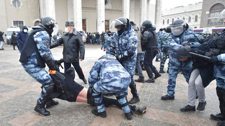 Clashes between protesters and police have broken out in Moscow. Pic: Associated Press
