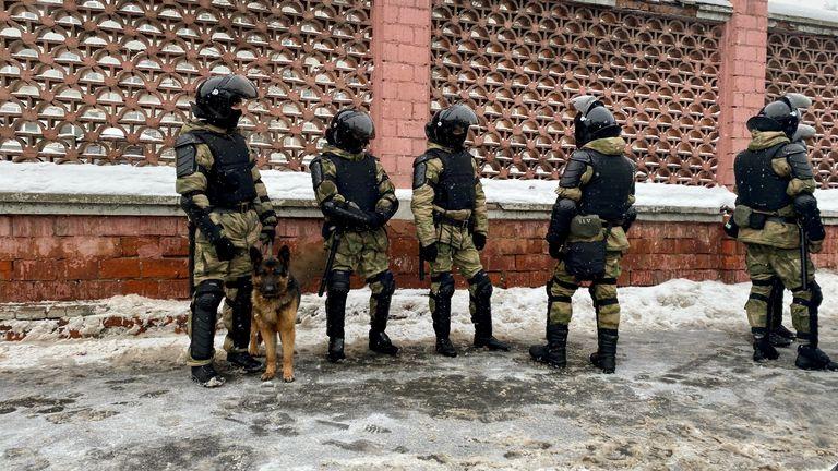 Riot police blocking the streets at Matrosskaya Tishina prison, where Navalny is being held