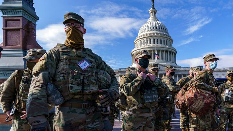 Far more National Guard will be on duty for Wednesday's inauguration than previous events. Pic: AP