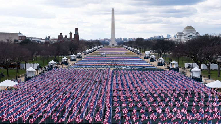 The 'field of flags' on the National Mall, looking towards the Washington Monument and the Lincoln Memorial