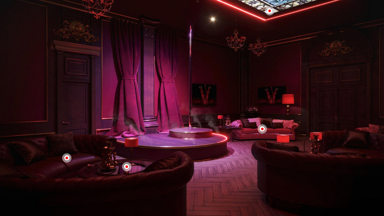 A purple hookah bar