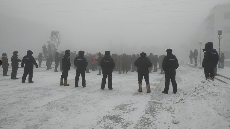 Protesters gathered in support of Mr Navalny in temperatures on -50C in Yakutsk. Pic: Ksenia Korshun/via REUTERS