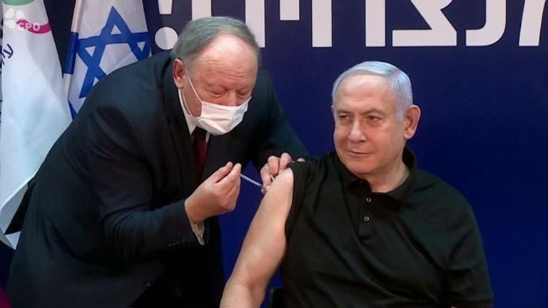 Israel's prime minister Benjamin Netanyahu receives his vaccination