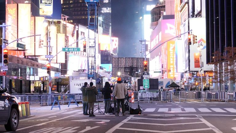 Only a handful of people attended the celebrations in New York's Times Square by special invitation