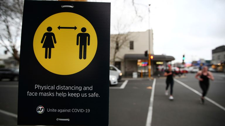 A social distancing sign in Auckland,