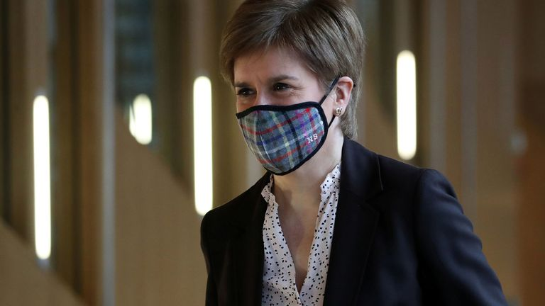 Scottish First Minister Nicola Sturgeon arrives to deliver a statement at Holyrood, Edinburgh, announcing that Scotland will be placed in lockdown from midnight for the duration of January with a legal requirement to stay at home except for essential purposes, Scotland, Britain January 4, 2021. Andrew Milligan/Pool via REUTERS