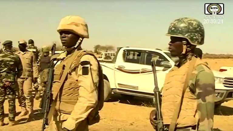Soldiers on guard during the prime minister's visit