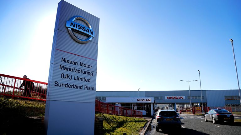 Nissan's Sunderland plant has been the subject of speculation over its future since the 2016 Brexit vote. Pic: AP