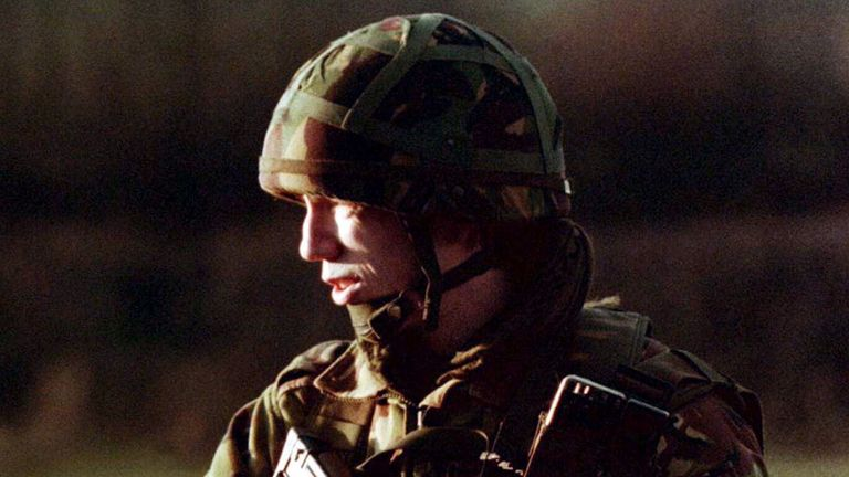 A British soldier on patrol in south Armagh in 1996