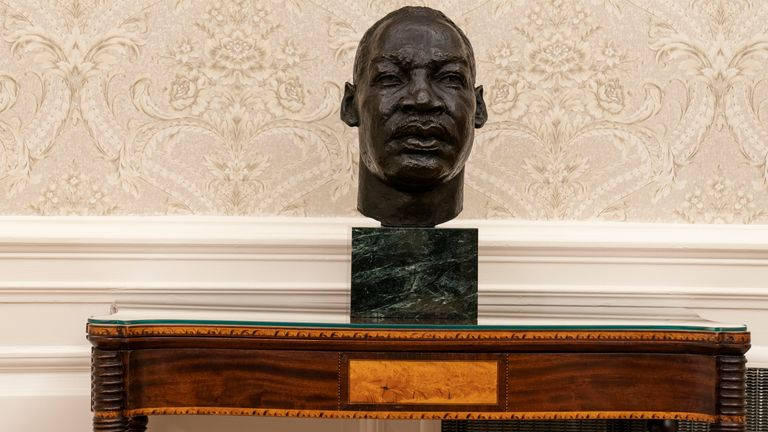 There is a bust of civil rights leader Rev. Martin Luther King Jr. Pic: AP