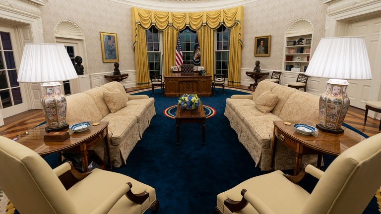 The Oval Office of the White House is newly redecorated. Pic: AP