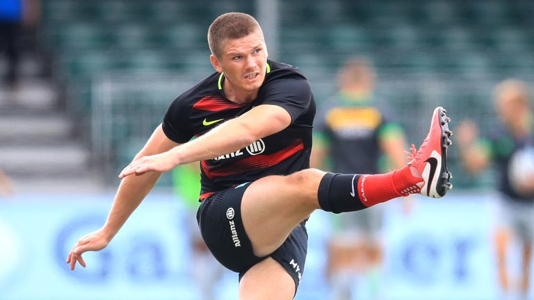 Saracens' Owen Farrell warming up before the Gallagher Premiership match at Allianz Park, London. 22/8/20