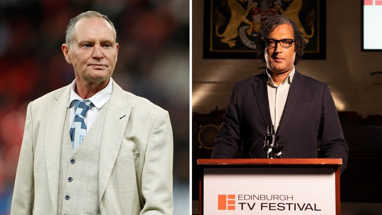 Paul Gascoigne (R) and David Olusoga