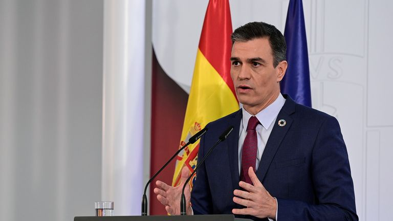 Spanish Prime Minister Pedro Sanchez reportedly said 70% of the population will need to be vaccinated