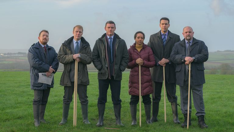 Luke Evans as Steve Wilkins, Steve Meo as DI Lynne Harries, Richard Corgan as DS Glyn Johnson, Alexandria Riley as DI Ella Richards, Kyle Lima as DC Nigel Rowe and Charles Dale as DS Gareth Rees in The Pembrokeshire Murders. Pic: ITV