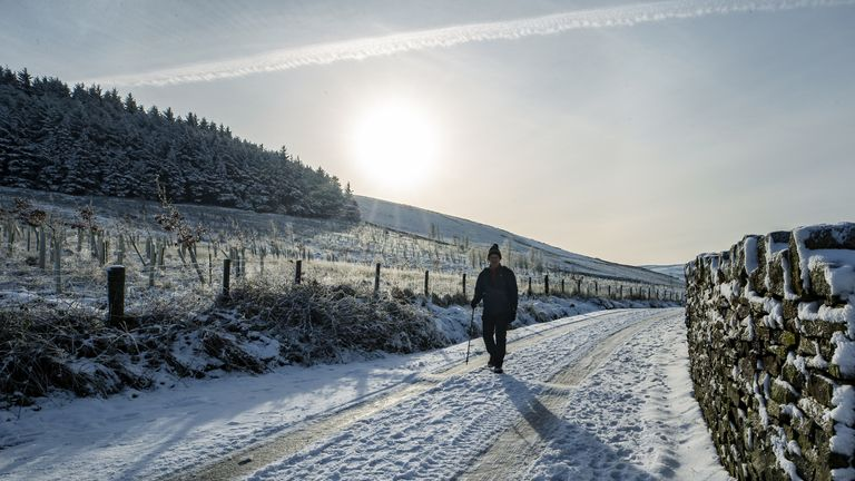 Snowy scenes in Pendle, Lancashire, yesterday