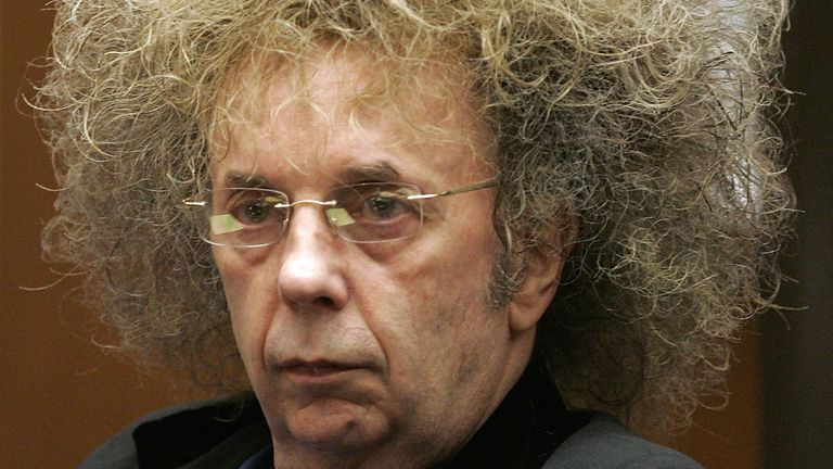Phil Spector during his 2005 trial in Los Angeles. He was jailed for 19 years to life for killing actress Lana Clarkson