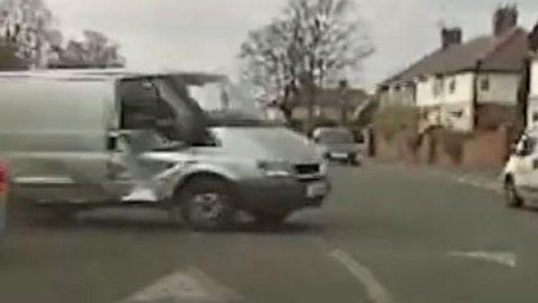 Police end chase by ramming runaway van