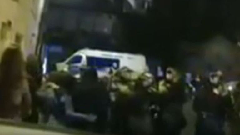 Police break up an illegal rave in Hackney