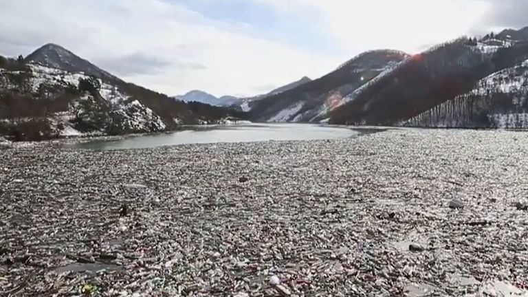 Potpec lake has accumulated immense amount of waste material