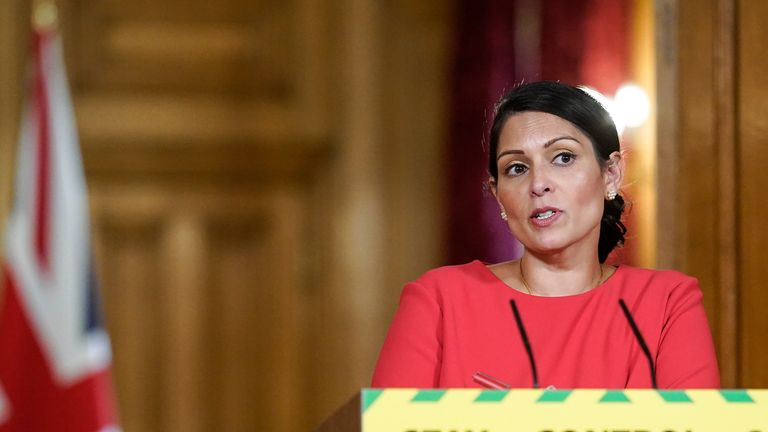 Handout photo issued by 10 Downing Street of Home Secretary Priti Patel, during a media briefing in Downing Street, London, on coronavirus (COVID-19) in May.