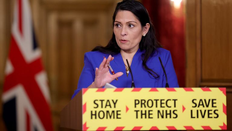 Home Secretary Priti Patel holds a Covid-19 Press Conference Pic: Pippa Fowles / No 10 Downing Street