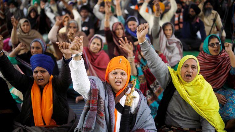 Protest against the farm laws near New Delhi