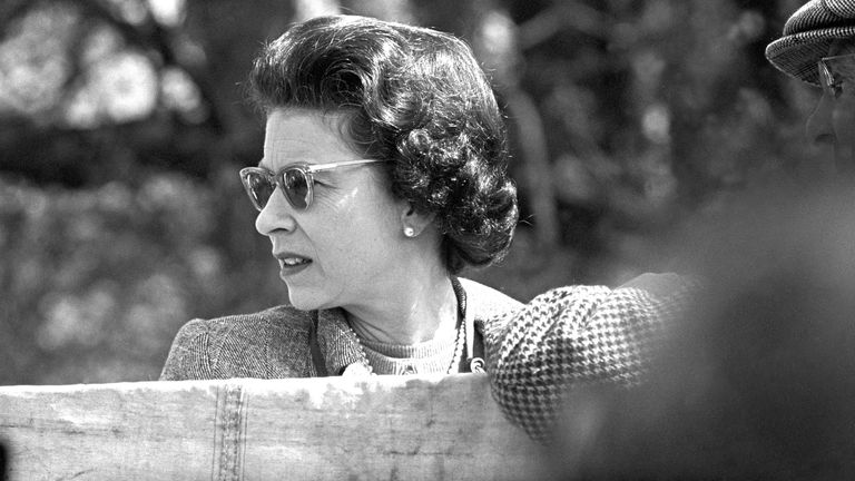 The Queen is seen in April 1968 at the Badminton Horse Trials. File pic