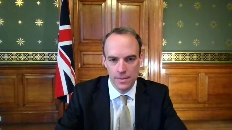 Foreign Secretary Dominic Raab speaks to Sky's Sophy Ridge about closing travel corridors