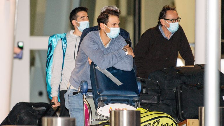 Rafael Nadal arrives at Adelaide Airport ahead of the tournament