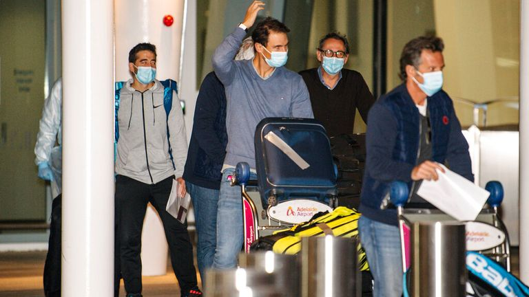 Tennis star Rafael Nadal has arrived in Australia ahead of February's tournament