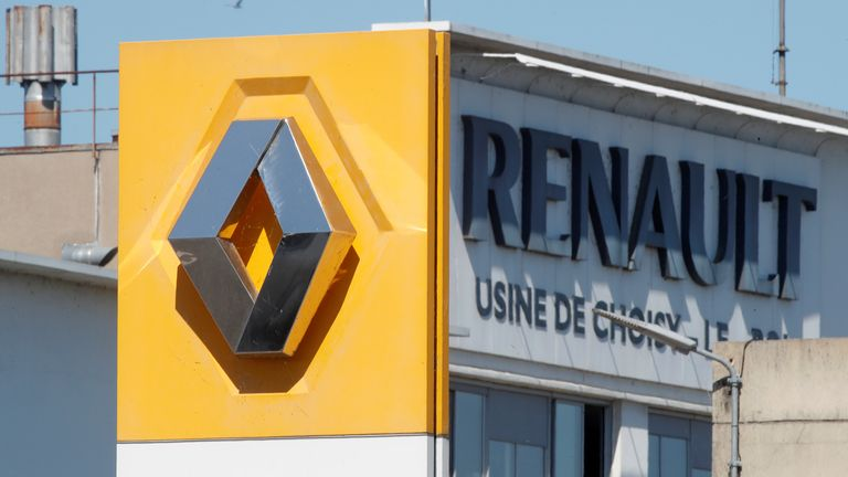 A Renault logo is seen at the main entrance of the Renault factory in Choisy-le-Roi near Paris, France, May 29, 2020.