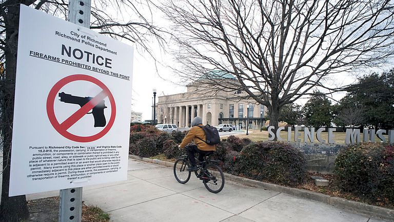 A no firearms sign outside the Science Museum of Virginia where the Virginia Senate was meeting Pc: AP Photo/Richmond Times-Dispatch, Bob Brown