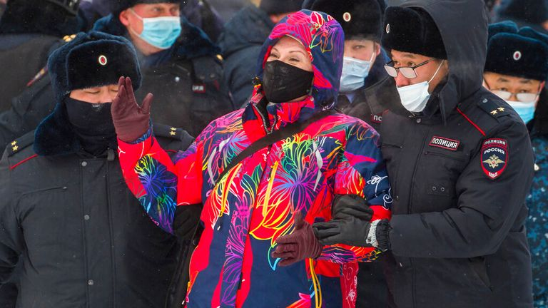 A protester is arrested during rallies in Ulan-Ude, the regional capital of Buryatia. Pic: Associated Press