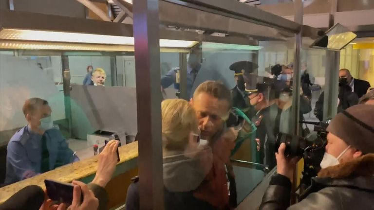 Alexi Navalny was detained after landing at a Moscow airport.