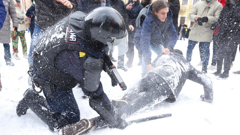 Police have been using batons and Taser guns on demonstrators in St Petersburg