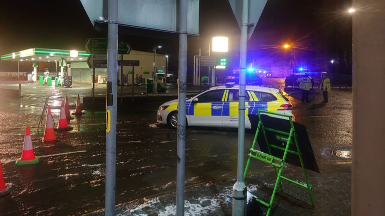 Police have blocked off flooded areas in Ruthin. Pic: Dafydd Vaughan