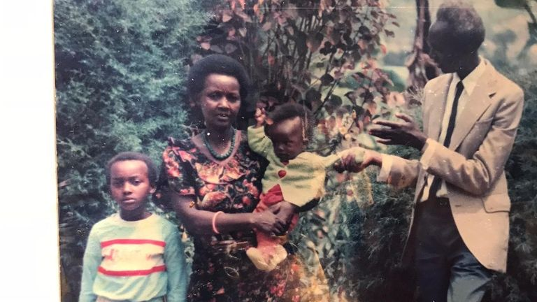 Marie and her family in Rwanda – she is the girl standing next to her mum, both of them were the only two family members who survived the Rwandan genocide. Credit: Family