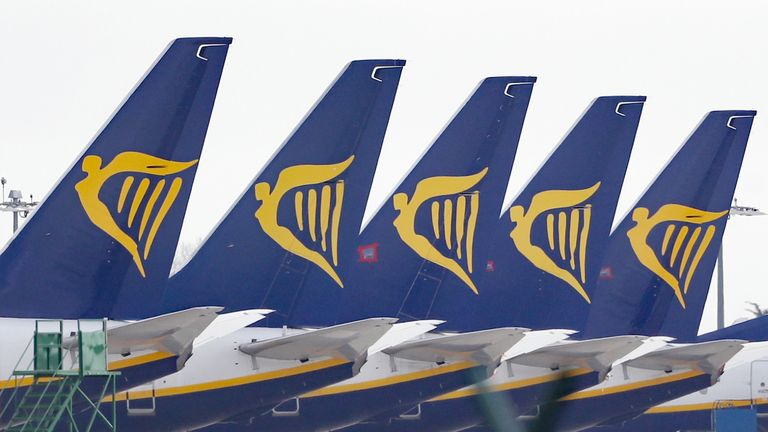 Ryanair planes line a terminal. The airline has reported an 83% drop in festive travellers