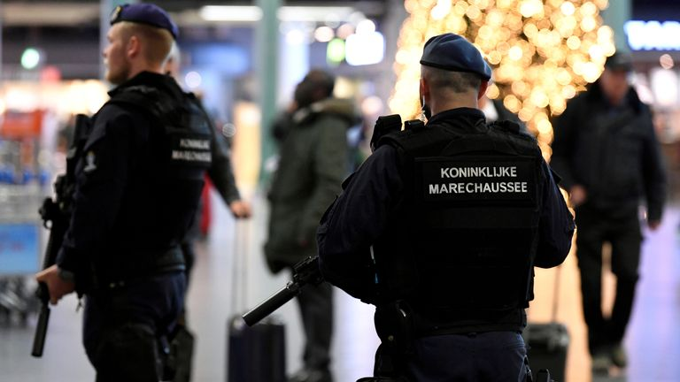 Dutch police patrol at Amsterdam's Schiphol airport. File pic