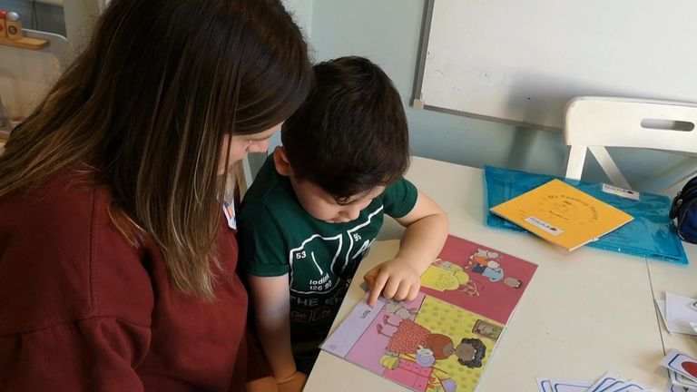Lauren Nolan, and son Frank, do some home learning following the closure of schools