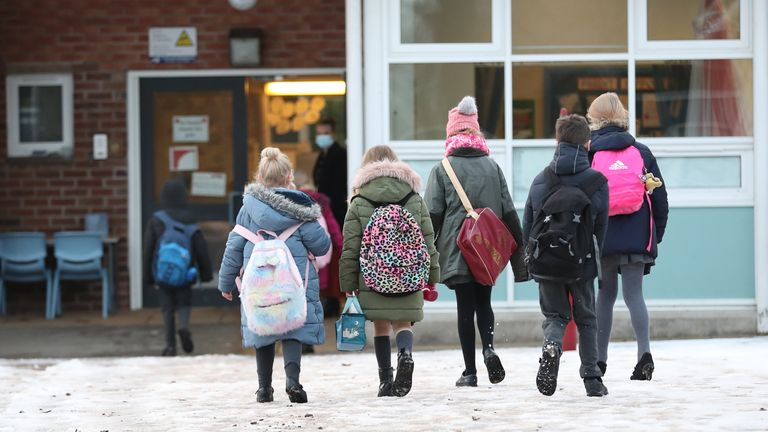 File photo dated 4/1/2021 of pupils arriving at Manor Park School and Nursery in Knutsford, Cheshire.