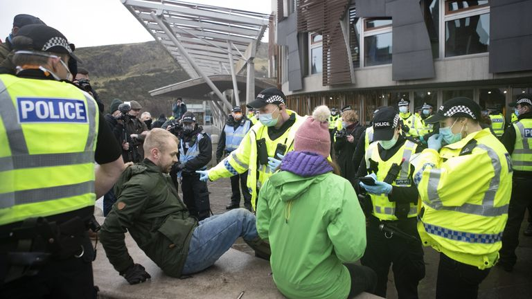 Protesters demonstrated against Scotland's lockdown in Edinburgh on Monday