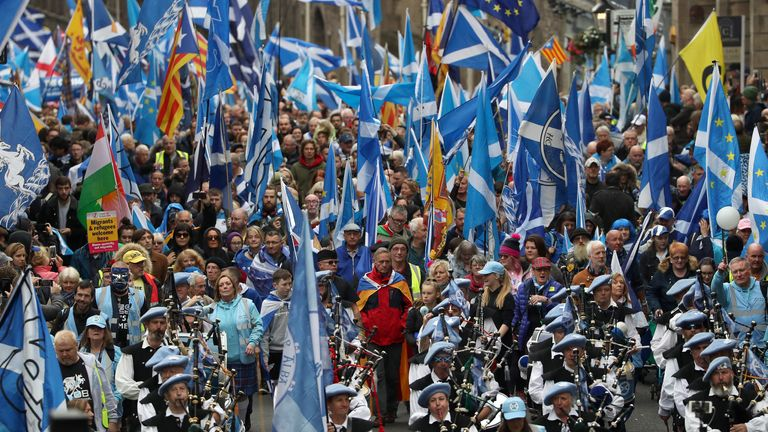 Scottish independence supporters march through Edinburgh in 2019