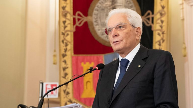 Italian President Sergio Mattarella speaks during a ceremony on the tenth anniversary of the death of former Italian President Francesco Cossiga, at the University of Sassari