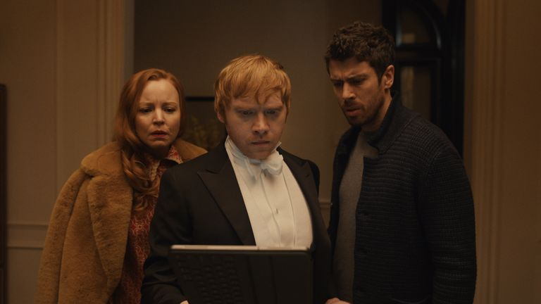 Lauren Ambrose, Rupert Grint and Toby Kebbell in Servant, premiering 15 January on Apple TV+.
