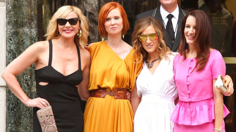 Kim Cattrall (far left) will not join her former co-stars on the new show